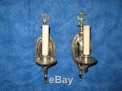 Pair Electric Candelabra Wall Sconces Vintage All Brass Nickel Plated Art Deco