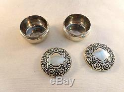 Pair of Ornate All Sterling Round Small Dresser Jars