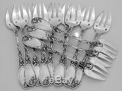Puiforcat Fabulous French All Sterling Silver Oyster Forks 12 pc Iris Pattern