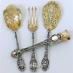 Puiforcat Masterpiece French All Aterling Silver 18k Gold Dessert Set, Mascaron
