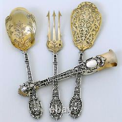 Puiforcat Masterpiece French All Aterling Silver 18k Gold Dessert Set, Mascaron