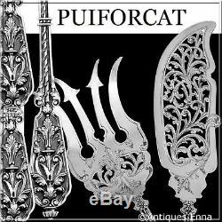 Puiforcat Rare French All Sterling Silver Fish Servers Francois 1er Renaissance