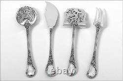 Queille French All Sterling Silver Dessert Hors D'oeuvre Set 4 pc withbox Rococo