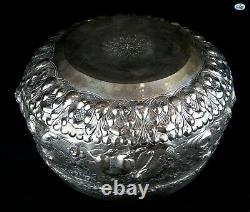 Rare Antique 1800s Large Heavy Burmese Myanmar Repoussé All Animals Silver Bowl