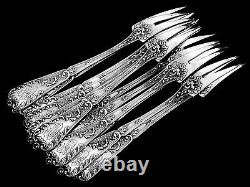 Rare Antique French All Sterling Silver Snail/Shellfish Forks 12 pc Rococo