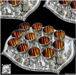 Rare French All Sterling Silver 18k Gold Liquor Cups 12 pc withTray Box Empire