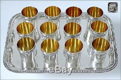 Rare French All Sterling Silver 18k Gold Liquor Cups 12 pc withTray Neoclassical