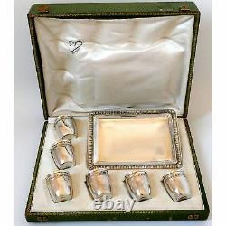 Rare French All Sterling Silver 18k Gold Liquor Cups, Original Tray, Box, Empire