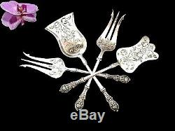 Rare French all sterling silver hors d'oeuvre dessert set 4pc withbox MASCARONS