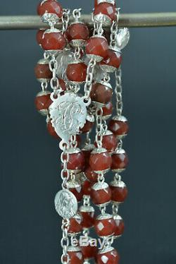 Rare Large antique French Rosary all caped Sterling Silver & carnelian beads