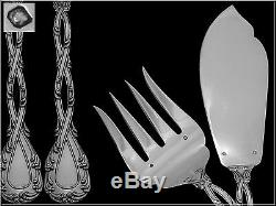 Rare Odiot Tetard French All Sterling Silver Fish Servers 2 pc Trianon pattern