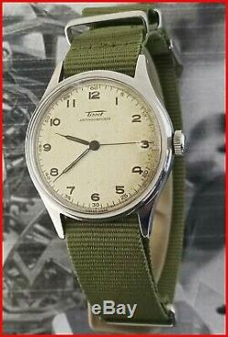 Rare Tissot Military WWII Pulsometer Cal. 27-23 Radial Dial 35mm All Steel Watch