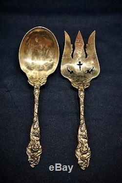 Reed And Barton Sterling Silver Six Fleur Salad Serving Set All Silver