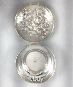 Repousse 900 All Sterling Large Round Box 3 1/2 Diameter