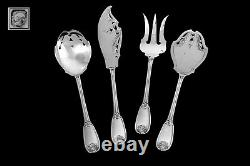 Ricard French All Sterling Silver Dessert Hors D'oeuvre set 4 pc withbox, Regency
