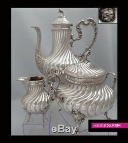STUNNING ANTIQUE 1880s FRENCH ALL STERLING SILVER TEA COFFEE POT SET 3pc 1,6 Kg