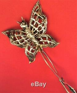STUNNING Vtg LARGE 8 ALL Sterling Silver Butterfly Asparagus Serving TongsRARE