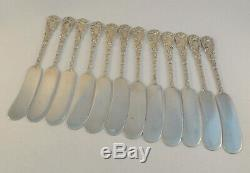 Set of 12 Chrysanthemum by Durgin All Sterling Butter Spreader- Mono'd