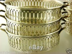 Set of 9 Sterling Silver Bouillon Cup Holders, all Pattern # 2546, 490 gr