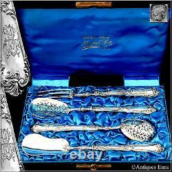 Soufflot French All Sterling Silver Dessert Hors d'Oeuvre Set 4 Pc, Original Box