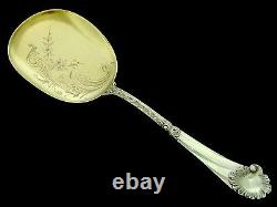 Soufflot Rare French All Sterling Silver 18k Gold Ice Cream Servers 2 pc Rococo