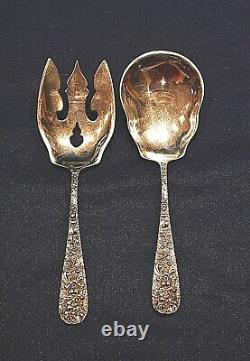 Stieff Rose Sterling Silver All Silver Salad Set 2 Piece Matching Set