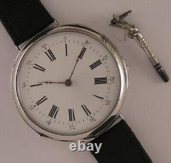 Superb ALL ORIGINAL SILVER CASE Cylindre 150 Years Old French Wrist Watch MINT
