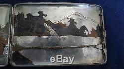 Superb Engraved On All Sides Japanese Sterling Silver Cigarette Case Signed