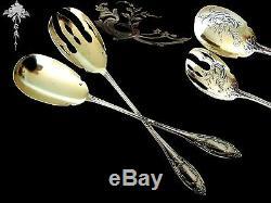 Top French All Sterling Silver Vermeil Salad Serving Set 2 pc Art Nouveau Period