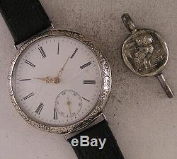 UNIQUE SILVER CASE ALL Original Just Serviced Swiss RHEA 1880 Wrist Watch A+A+