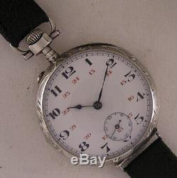 UNIQUE SILVER CASE All Original 1900 Antique French Hi Grade Wrist Watch MINT