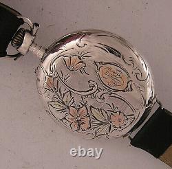 UNIQUE SILVER CASE All Original Cylindre 1900 Swiss Gent's Wrist Watch A+