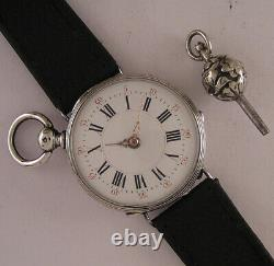 Vintage ALL ORIGINAL SILVER CASE Cylindre 150 Years Old French Wrist Watch MINT
