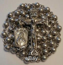 Vintage All Sterling Silver Large Rosary 39 Grams with Case Antique