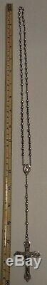 Vintage All Sterling Silver Rosary Beads 23.6 Grams Antique