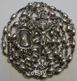 Vintage All Sterling Silver Rosary Beads 30 Grams Antique Chaplains WW2