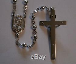 Vintage All Sterling Silver Rosary Beads Antique NOS