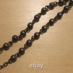Vintage Antique All Solid Sterling Silver Smooth Beads Rosary Necklace Beaded