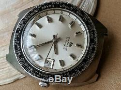 Vintage Bucherer World Time Diver withSilver Dial, Patina, All SS Case, Runs Strong