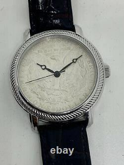 Vintage Genuine One Dollar Silver Coin Jumbo Size Watch New Battery All SS Case