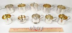 Vintage Lot 10 All Mixed USA Made Sterling Silver 925 Baby Child Youth Cups Mugs