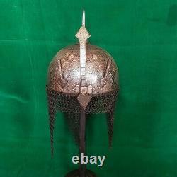 Vintage all steel mughal Islamic silver overlaid Kulah khula khud helmet Shield