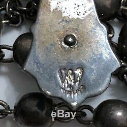 Vintage or Antique All Solid Sterling Silver Smooth Beads Rosary Necklace Beaded