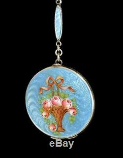 WOW! Antique STERLING 935 SILVER ENAMEL GUILLOCHE LOCKET Necklace ALL ORIGINAL