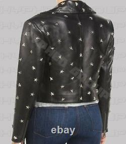 Women's Punk Silver Star Studded Biker Cowhide Antique Leather Jacket All Size