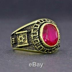 Y124 925k Sterling Silver Jewish Ring Antique Gold By Pruva Jewelry All Sizes