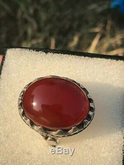 Yemeni Aqeeq RED Agate Stone 925 Sterling Silver Turkish Men Ring ALL SZES